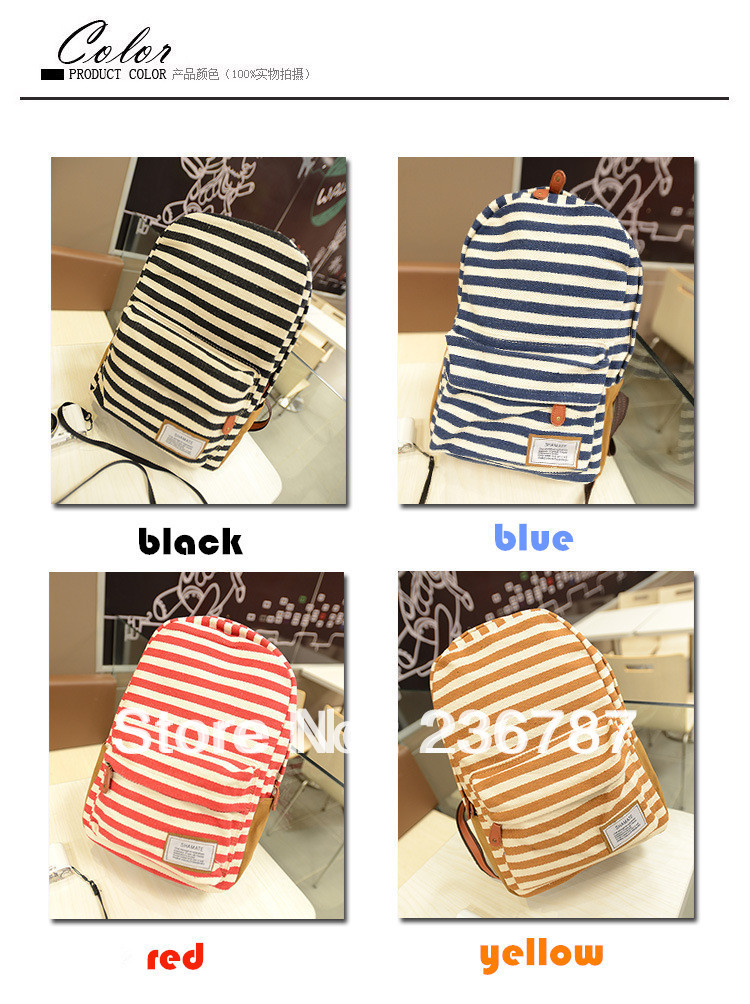 4 Color 2013 Casual School Book Striped Ipad Canvas Messenger Travel Shoulder Bags Kids/Women/Girl/Children Backpacks/Rucksack(China (Mainland))