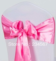 100pcs 17*275cm pink satin chair sash bow ribbon wedding party banquet decoration free shipping