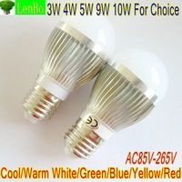 8PCS/LOT E27 base High Power 3W 4W 5W 9W 10W SILVER Globe lamp LED lamp AC85V--265V down lights 6 colors for choice LB4