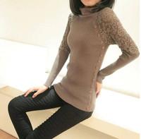 2014 Korean Women Autumn Primer Shirt T-shirt  Lace Knit Turtleneck Sweater Pullover Warm Crochet Jumper Blouse Tops