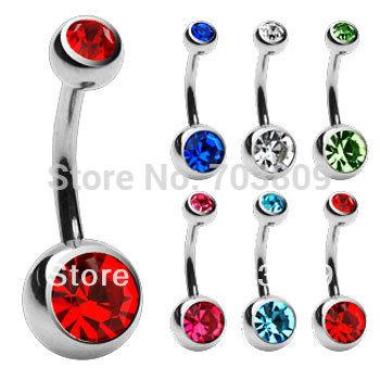 shipp free 10 pezzi di cristallo multicolore 14g doppio corpo gioielli gemma piercing press fit pulsante ombelico anello anello di pancia