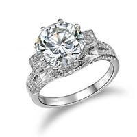Amazing Luxury 3 Carat  SONA Synthetic Diamond Ring Engagement  Jewelry 925 Silver 18K White Gold Plated Wedding Ring Customized