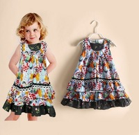 2014 Summer fashion girl dress floral princess designer dress brand kids dresses cotton children clothes