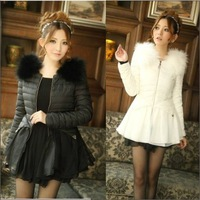 Free shipping 968 2013 wadded jacket sweet puff skirt patchwork raccoon fur cotton-padded jacket medium-long wadded jacket