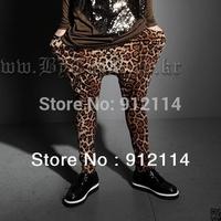 2014 new mens Personalized Leopard harem pants men Nightclubs dance pantalone men low drop crotch Pants for men,Bloomers