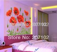 50cm*70cm Red Rose wall stickers flower sticker wallpaper vinyls removable decal/wall art/walls murals/home decor DIY poster