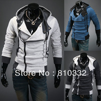 Oblique Zipper Autumn and Winter Male with a Hood Sweatshirt Outerwear Men's Cardigan Slim Jacket