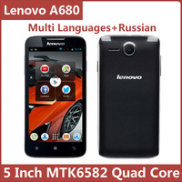 Original Lenovo A680 5 Inch 854x480 Mtk6582 Quad Core Android Smart Mobile Cell Phone Multi Language FreeShipping Sg Post