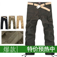 Free shipping Tooling hiphop bags loose plus size trousers male casual pants male men's overalls trousers