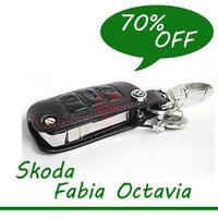 Free shipping! Skoda Octavia/Fabia/Superb Remote Control Genuine leather Car Keychain key case auto accessories