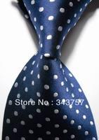 New Silk Pattern White Blue JACQUARD WOVEN Silk Men's Tie Necktie