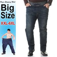 2014 New autumn winter high elastic waist men's jeans plus big size XXL-6XL straight denim trousers casual style for man # 6049