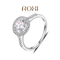 ROXI Christmas Delicate Zircon Man-made Fashion Platinum Plated Elegance RING for Wedding 0.8*0.9 cm