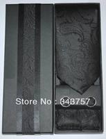 New Solid Color Paisley JACQUARD WOVEN Silk Men's Tie Cufflink Hanky Set Necktie Black