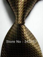 New Silk Pattern Brown JACQUARD WOVEN Silk Men's Tie Necktie