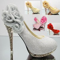 2014 Brand Women red/silver Wedding Shoes Red Bottoms Platform Wedge HighHeels Sexy  Pumps Ladies Pointed Toe Bridal Shoes