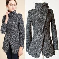 2014 new design Winter woolen jackets women's Coat/European style retro Swallow gird slim Grey overcoat women outerwear/WOl