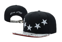 2014 new 1 pcs black cotton white stars strapback hats and caps for men/women snakeskin brim sports hip hop cap good quality