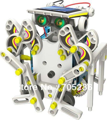 Spedizione gratuita 14 in 1 educativo robot kit solare giocattolo/14-in-1 robot kit solare