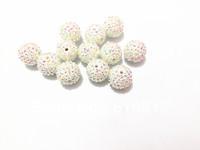Free Shipping  !!!  20MM 100pcs/lot  White AB Chunky Resin Rhinestone Beads