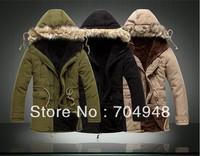 New Fashion Men Winter Outdoors Medium-Long Fleece Jacket Thickening Fur Hooded Army Green Parka Coat Cotton-padded Warm Outwear
