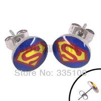 Free shipping! Enamel Superman Earring Body Piercing Stainless Steel Jewelry Blue Trendy Earring Studs SJE370001