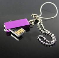 New metal swivel mini waterproof usb 2.0 usb stick flash drive pen drive 4-32GB pendrive (with chian)