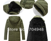 Men's Winter New Slim Thick Velvet Cotton Padded Hooded Coat /Long Single-breasted Casual Trend Jacket