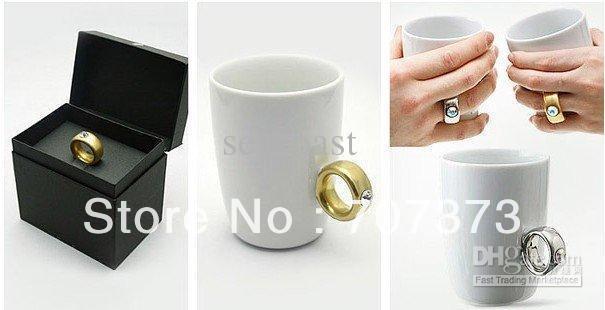 48pcs/lot FedEx Free Shipping Novelty items,Elegant Austria Crystal Diamond 2 Carat Ring Ceramic Cup, Valentine's Cup, Cute Mug(China (Mainland))