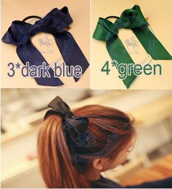 Candy Color big silk bowknots Rope Elastic Hair Ties Bands Headband Strap Girl's lady CN post(China (Mainland))