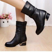 Winter women's boots genuine leather high-quality first layer leather shoes warm cotton villi female elegance with boots