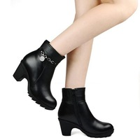 Winter high heel boots leather women genuine leather shoes brand wool Short Boots Thick Heel large size 40-43