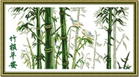 Printed cross stitch bamboo  picture