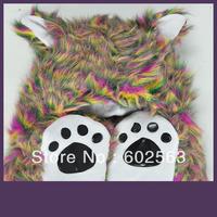 1pcs  Animal hat -multicolour  Cartoon Cute Fluffy Plush Hat Cap with Gloves,Wholesale