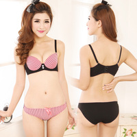2013 young girl underwear stripe sexy push up bra twinset comfortable bra