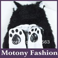 1pcs  Animal hat -Black Bear  Cartoon Cute Fluffy Plush Hat Cap with Gloves,Wholesale