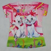 new 2014 summe fashion little girls blouse floral top kids character t shirt cute cartoon print shirt hello kitty garfield