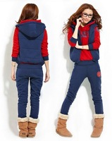 [S971] 2014 HOT !! new SET 3 sport sweater autumn and spring season good quailty women's sweatshirt Hooded 3pcs/set