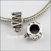100Pcs Tibetan Silver 5mm Hole Tube Charms Bail Beads Fit Bracelets 8x11mm L269