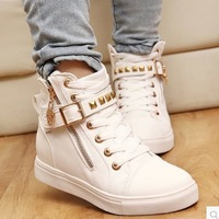 New spring/autumn/winter shoes women rivets canvas shoes +PU surface fashion belt buckle high running shoes for leisure sneakers