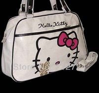 Free Shipping! High Quality Fashion Lovely Hello Kitty Ladies White PVC Hand Shoulder Bag Purse Tote hk01