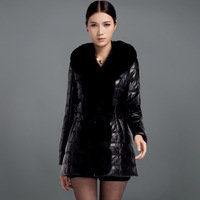 2013 quinquagenarian genuine leather down coat female sheepskin fox fur slim medium-long leather clothing