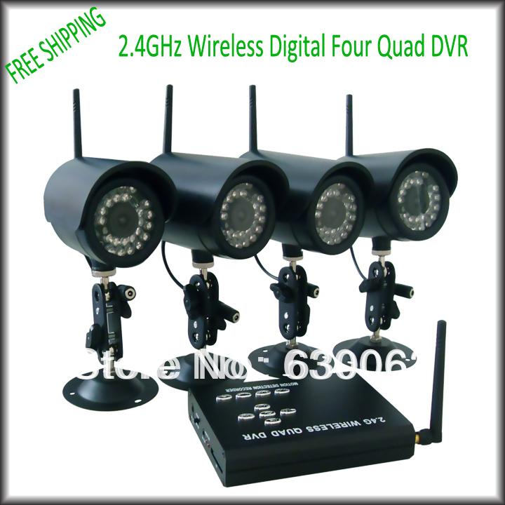 FREE SHIPPING 4pcs 2.4GHz Outdoor IR Night Vision Camera+Wireless Receiver DVR H.264 SD Card Storage CCTV Camera DVR KIT(China (Mainland))