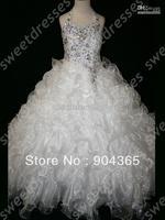 Most Popular Little Girl's Pageant Dresses White Voile  Organza Halter Sequins Beaded  Floor Length Flower Girl Dress