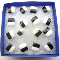 8 pair / box Korean Square black and white plastic resin bead earrings hypoallergenic earring  Free Shipping 85074