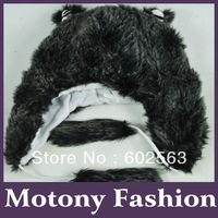 1pcs  Animal hat - black bear Cartoon Cute Fluffy Plush Hat Cap ,Wholesale fashion hat  no#13