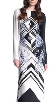 Women's 2014 Luxury Brands Jersey Silk Dress Long Sleeves Print Bodycon Spandex Stretch Maxi Bohemian Dress