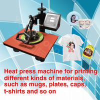 Sublimation machine 110V,220V heat transfer machine printing mugs, plates, caps, t-shirts, mini digital Heat Press Machine