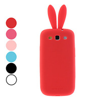 Supper Cute Bunny Pattern Protective Soft Silicon Phone Case for Samsung Galaxy S3 I9300 (Assorted Colors) Free Shipping