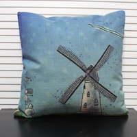 """Free shipping high quality linen invisible zipper cartoon  cushion cover/pillow case for sofa decoration """"windmill"""" 45*45cm"""
